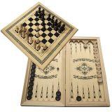 3 в 1 Нарды, шахматы и шашки светлые средние